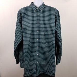 L L Bean Wrinkle Free Traditional Green Blue Check
